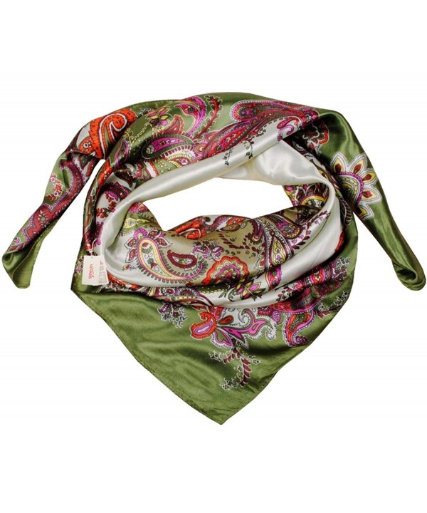 MEYKISS Women's Floral Print Silk Kerchief Square Bandana Scarf - Army Green - CU11ANK33RP