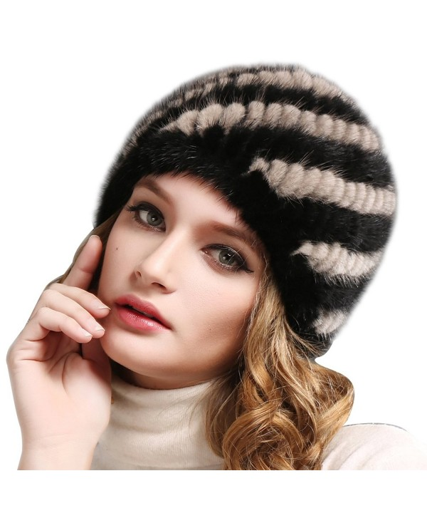 FURTALK Womens Mink Fur Winter Hat - Luxurious Warm Skiing Hats Cap For Women Girl Orginal - Blackgrey Single - CS18655OICX