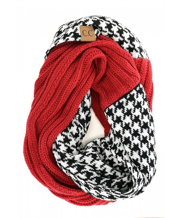 Crane Clothing Co. Women's Houndstooth CC Infinity Scarf - Crimson - CV1859OMTU8