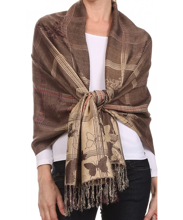 Sakkas Tricia Multi-Colored Silky Butterfly Pashmina/ Shawl/ Wrap/ Stole - 1-brown - CH124TLY9RR