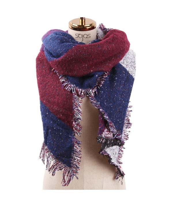 SOJOS Stylish Warm Womens Cape Scarves Plaid Tartan Scarf with Tassels SC314 - C3 Burgundy&navy Plaid - CI187DMUK9E