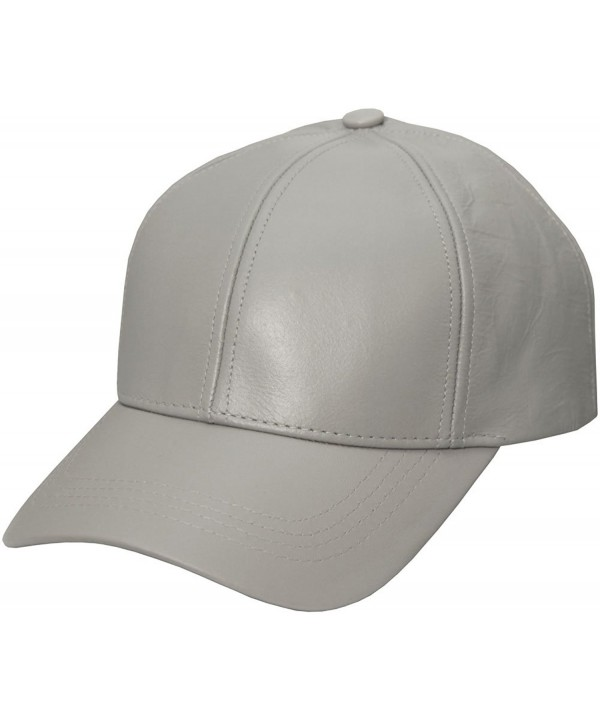 Grey Genuine Leather Baseball Cap Hat Made In The USA - CF119TIWU31
