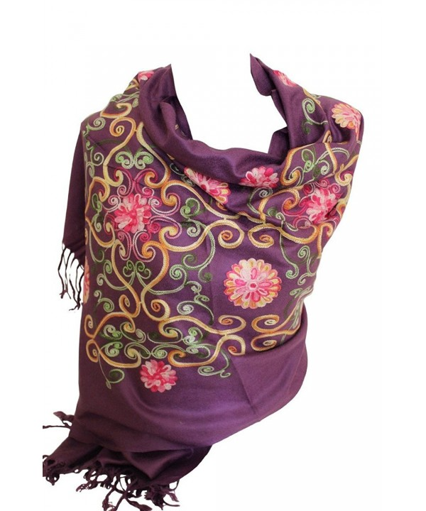 Premium Lush Embroidered Pashmina Feel Scarves Shawl Stole Wrap Head Scarf - Purple - CM12NT9FFQH