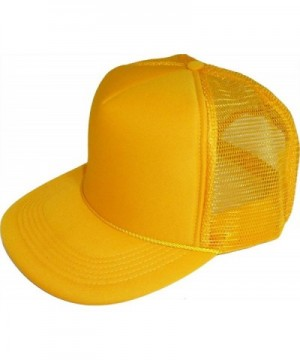 Enimay Solid Color Curved Mesh Trucker Hat Cap (Many Color Curveds Available) - Gold - CU11OWQSJBR