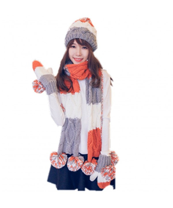 ALLDECOR Women Winter Warm Knitted Hat/Scarf/Gloves Sets Cold Weather 3pcs - Orange - CW186O226H7