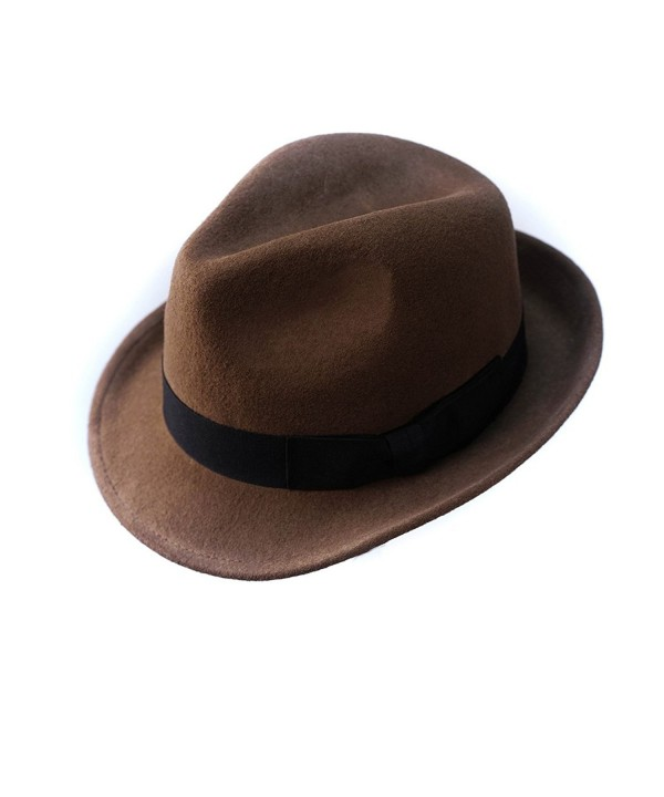 Wool Trilby Hat Felt Panama Fedora jazz Sun Beach style With Black band for Man Cap - Brown - CC18694LI2M