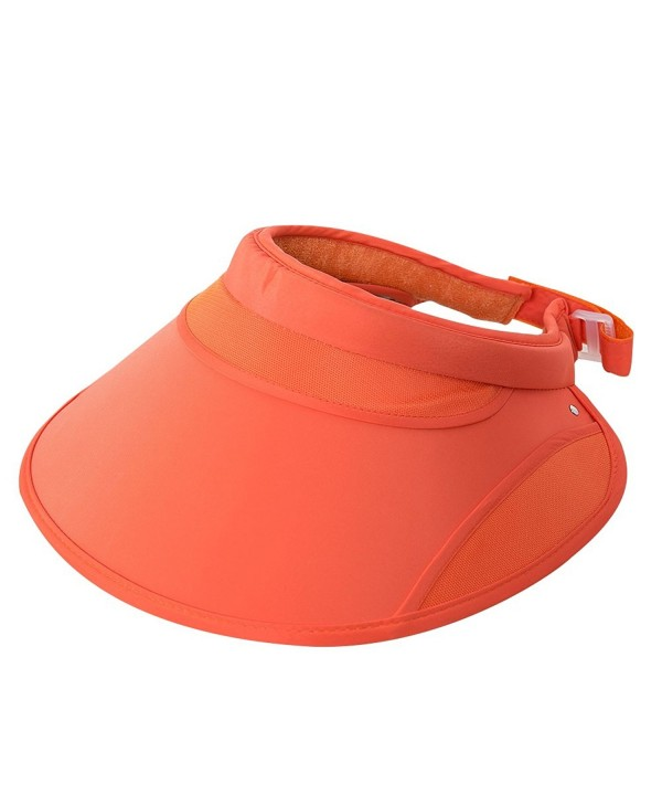 iShine Visor Hats Wide Brim Cap SPF 50+ UV Protection Summer Beach Sun Hats For Women - Orange - CA182WL9ISL