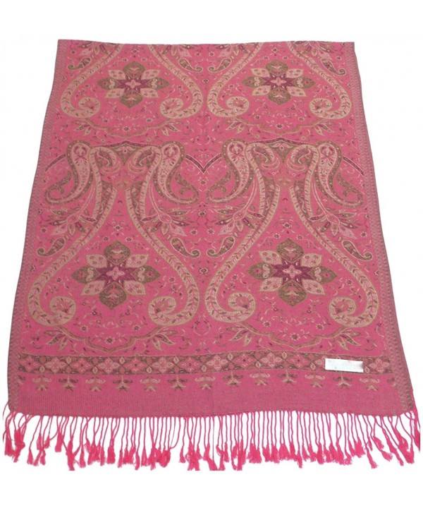 Kud Design 2 Ply Reversible Pashmina Shawl Scarf Wrap Stole CJ Apparel NEW - Pink - C1115X758F9
