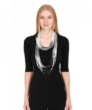 CCFW Women's Ombre Jersey Shred Rope Necklace Scarf - Black White - CJ17Y02RIEG