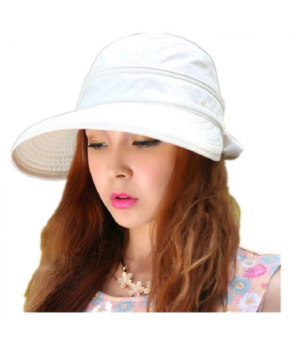 Woman's Baseball caps Fashion Ladies Bowknot Dual Purpose Two USES Hat Sun Visor Summer Beach Hat - White - CH11Y65CRGH