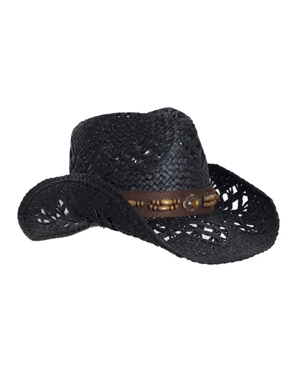 Straw Cowboy Hat W/ Vegan Leather Band & Beads- Shapeable Brim- Beach Cowgirl - Black - CT11UYA6TOD