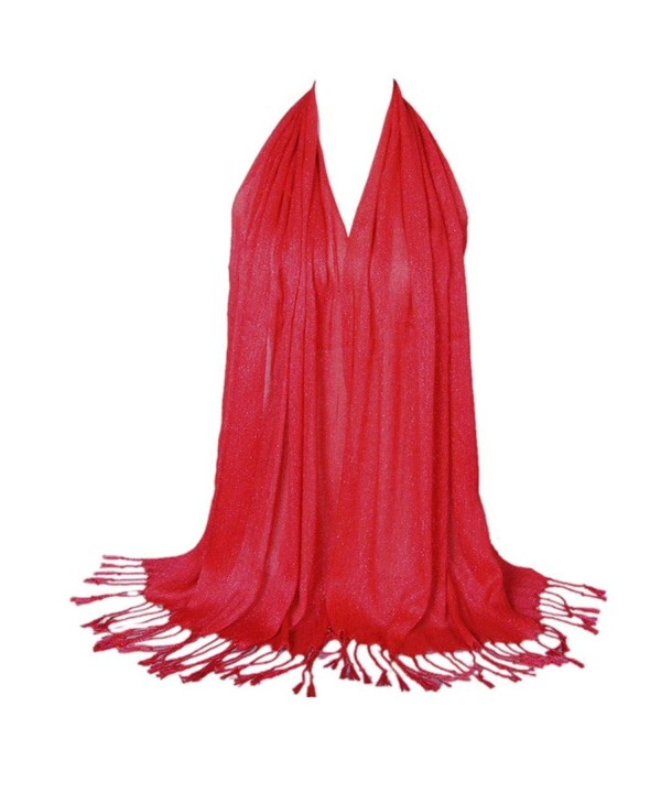BEST Women Soft Cotton Scarf Long Large Wrap Shawl Solid-colored - Red - CV12LWK0E6D