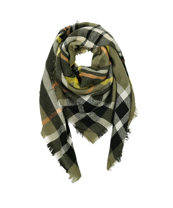 VBIGER Women Stylish Blanket Plaid Scarf Oversized Checked Shawls Wrap Shawl Pashmina - Deep green - CS187QX9L9Z
