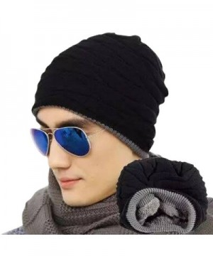 JOYEBUY Men's Soft Lined Slouchy Beanies Hat Warm Winter Thick Knit Skull Cap Valentine's Gift - Black - CY1858LR8RA