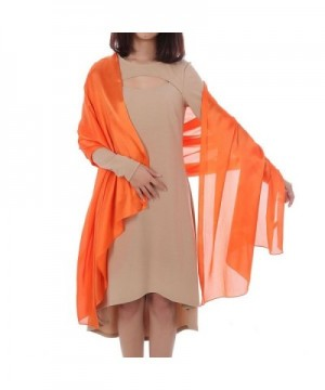 Tanpell Women's Scarfs Silky Bridal Evening Shawl Cascul Scarves Wraps - Orange Red - CD1864HGQ25