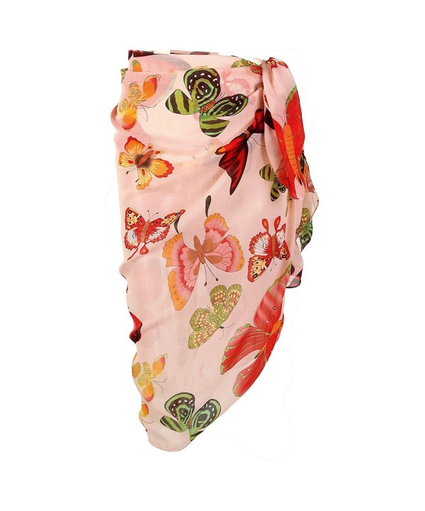 CHIC DIARY Women Chiffon Pareo Beach Wrap Sarong Swimsuit Scarf Cover Up For Vacation - Pink-butterfly - CT186NCG8LZ