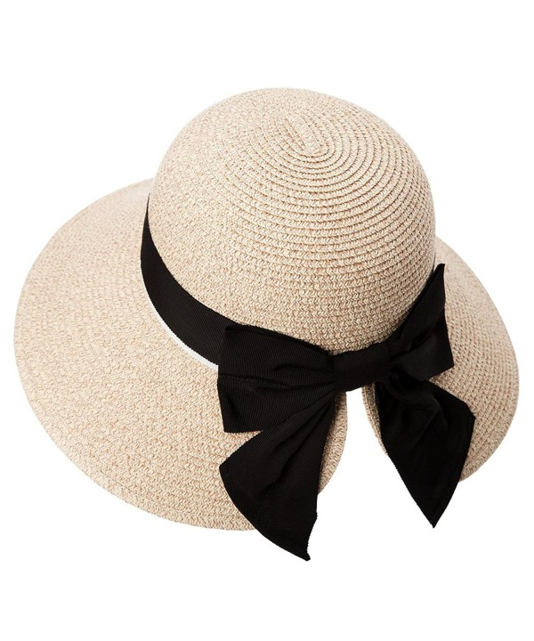 SIGGI Womens Floppy Summer Sun Beach Straw Hat UPF50 Foldable Wide Brim 56-58cm - 89015_beige - CV17WZ8QG0S