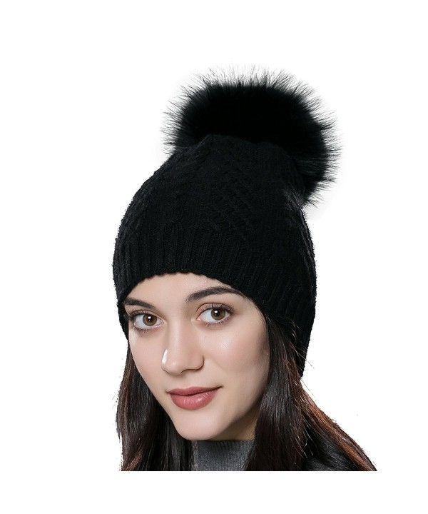 URSFUR Womens Winter Bobble Hat Unisex Wool Knit Beanie Cap with Fur Ball Pompom - Black With Fox Fur Pompom - CK12N23NCMT