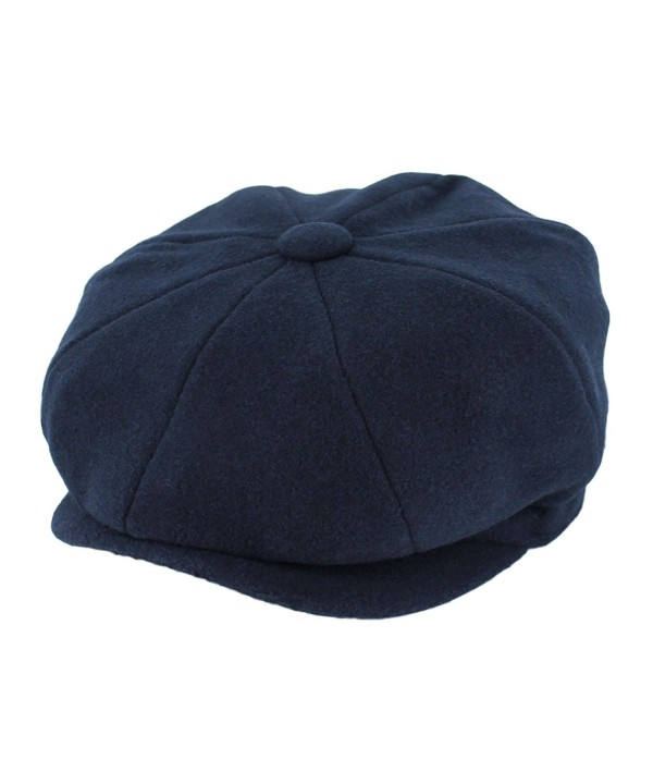 Hats in the Belfry Belfry Groby Men's Soft Wool newsboy Cap In 4 Sizes and 5 Colors - Navy - C711YQMUC85