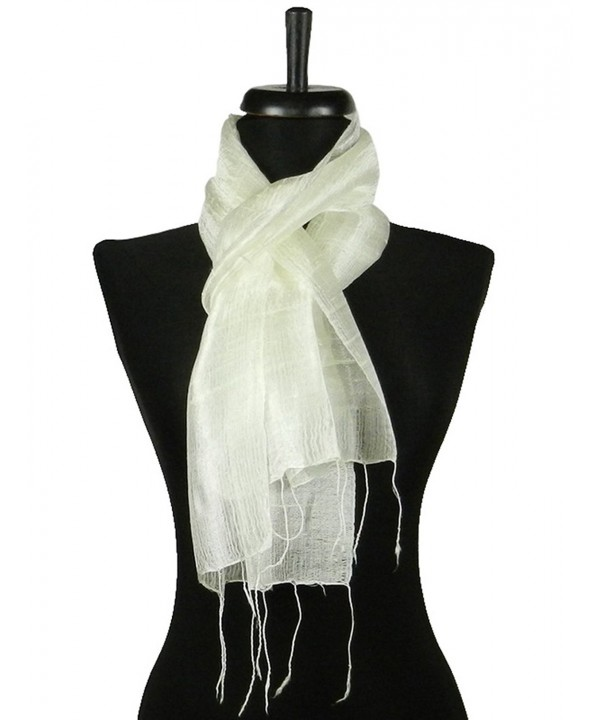 Thai Natural White Hand Craft Pure Raw Silk Fabric Scarf Small Shawl Thailand - CS11EG7Q06D