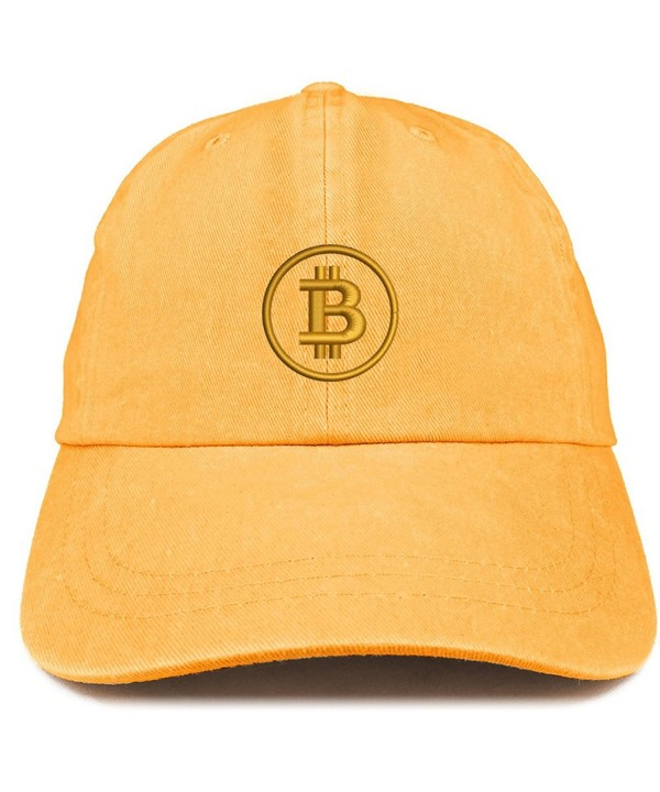 Trendy Apparel Shop Bitcoin Embroidered Washed Cotton Adjustable Cap - Mango - CB185LUK7XN