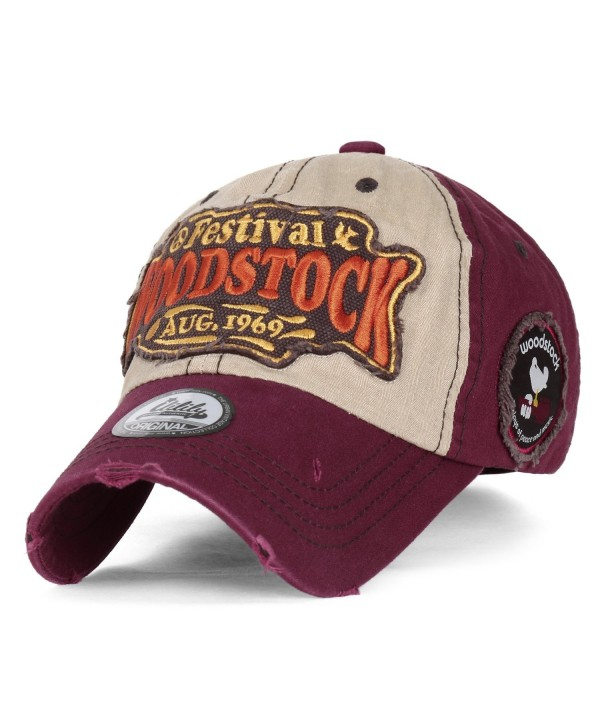 ililily WOODSTOCK August 1969 Vintage Patch Trucker Hat Cotton Baseball Cap - Burgundy - CV12L59TUAV