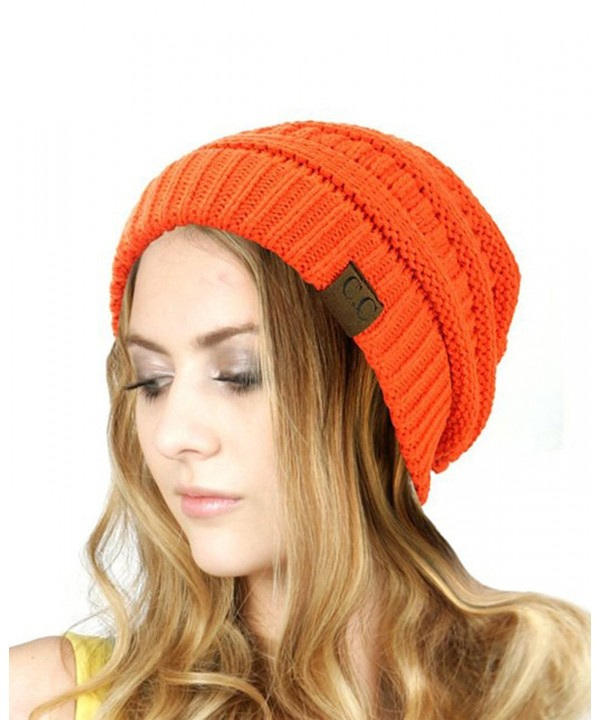 Trendy Warm Chunky Soft Stretch Cable Knit Slouchy Beanie Skully HAT20A (Bright Orange) - CN128EW87BB
