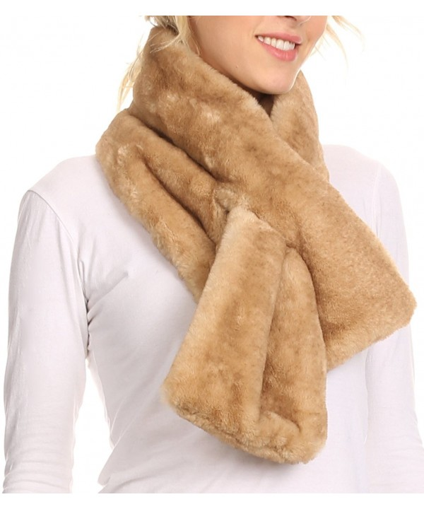 Sakkas Kiy Loophole Faux Fur Long Soft Warm Comfortable Textured Bow Scarf - Khaki - CI12LN79P4H