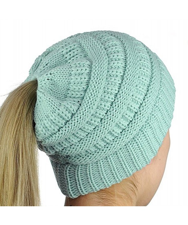 iParaAiluRy Ponytail Slouchy Knitted Stretch - Light Blue - CZ187I4KMAM