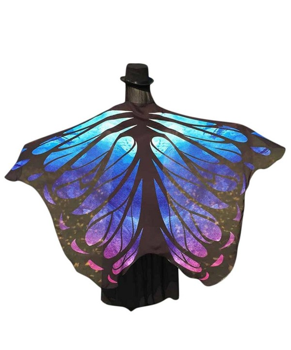 Shawl Wrap- Yoyorule Fairy Butterfly Wings Chiffon Shawl Nymph Pixie Costume Accessory - Blue - CM17Y0LDZ96