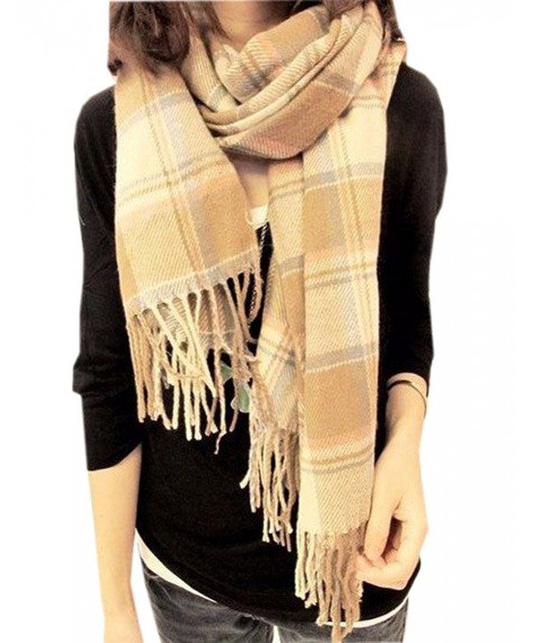 Xinliya Cashmere Large Chequered Plaid Checked Tartan Scarf Wrap Shawl - Beige - CN11R7UXY97