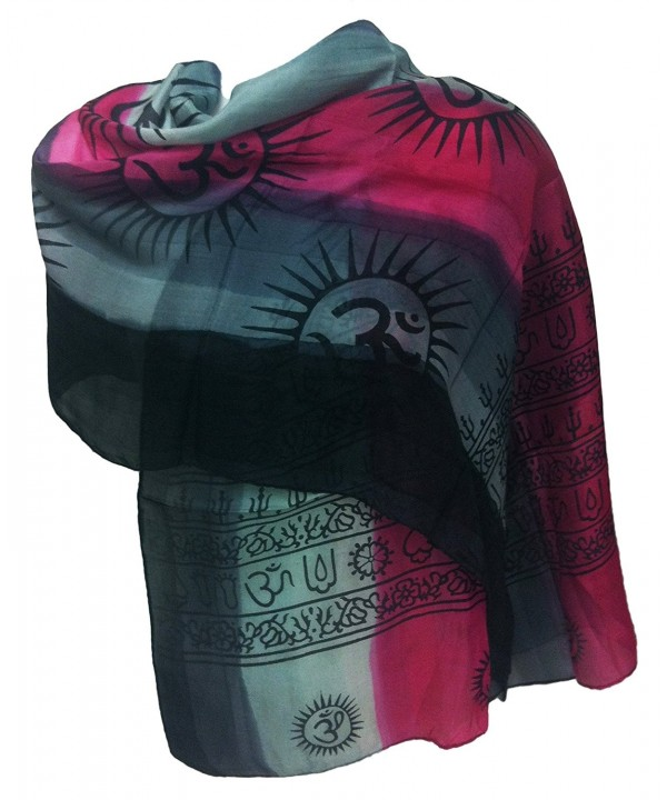 100% Pure Silk Indian Printed Om Mantra Scarf Hand Dyed - Pink/Grey - C211UFEY1ZX