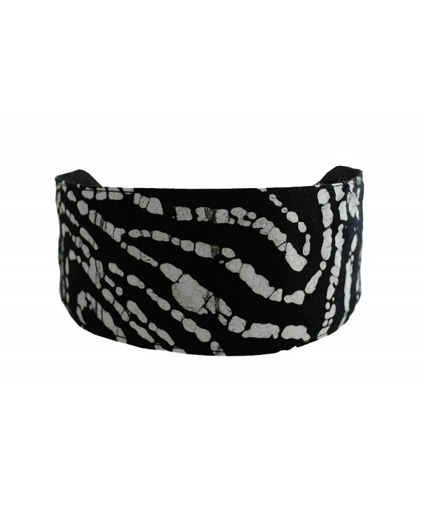 Bargain Headbands- White Swirls on a Pure Black Background Batik Style Fabric - CJ11455XMLH