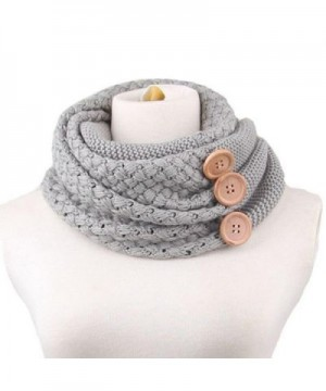 EUBUY Vintage Women Warm Knitted Thick Infinity Scarf with Button Best Xmas Gift - Grey - C4128OJVNJ7