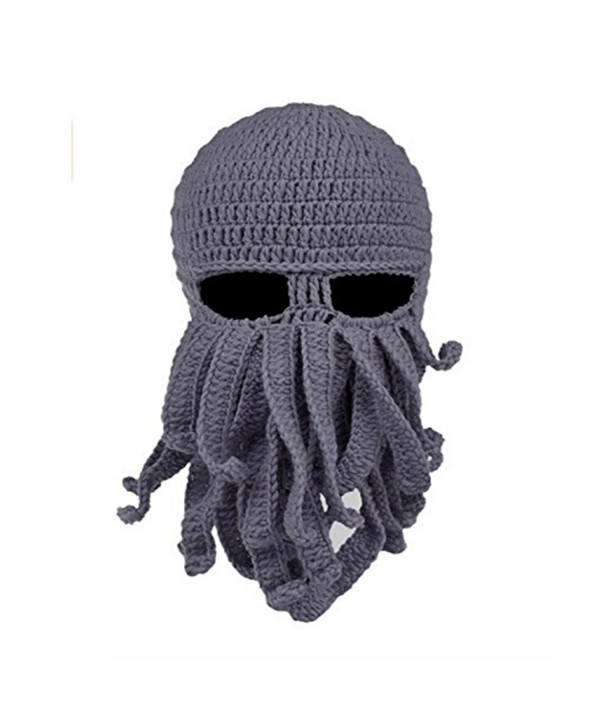 JXUFUFOO Beanie Octopus Knight Knit Beard Hat Unisex - D-grey - C0185YUTWSM