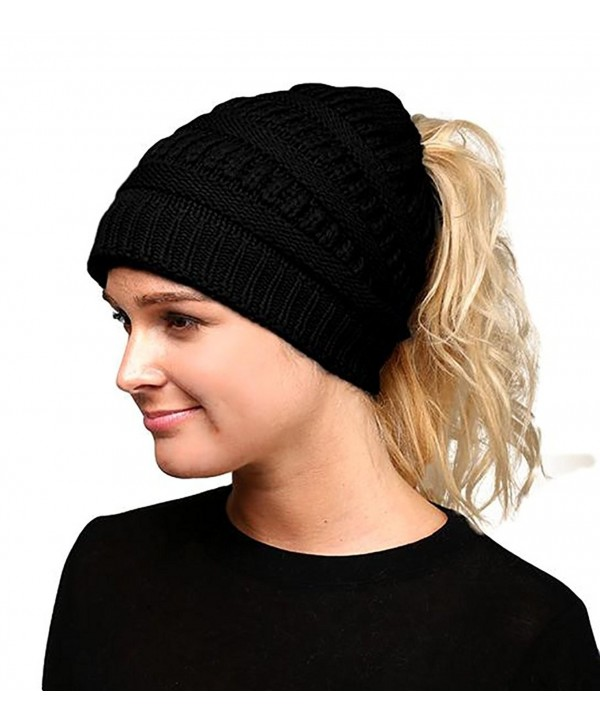 Fashion Love Super Soft Solid Color Cable Knit Warm Winter Stretch Beanie Cap Ponytail Bun Hat (Black) - C918902S2E2