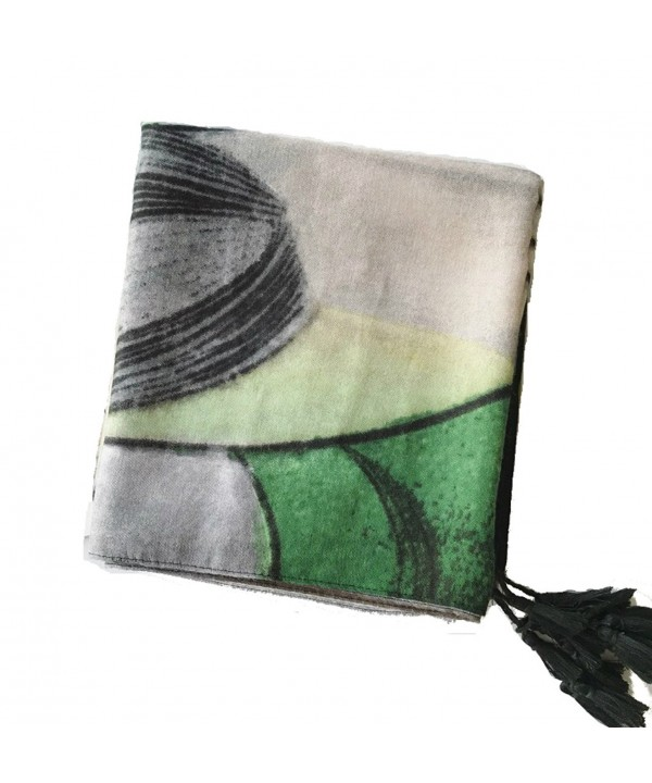 WS Natural Lightweight Scarves: Fashion Shawl Wrap Scarf For Women - Painting Green - C8188SIIR8R