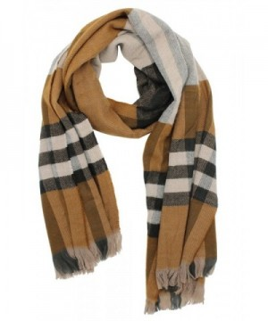 Plaid Blanket Scarf Women Warm Soft Long Pashmina Scarves Wrap Cape Shawl - Brown - CO1888MN6TE