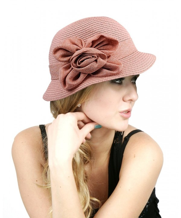 NYFASHION101 Women's Paper Woven Cloche Hat with Flower Band - Rose - CF11VJDVFJJ