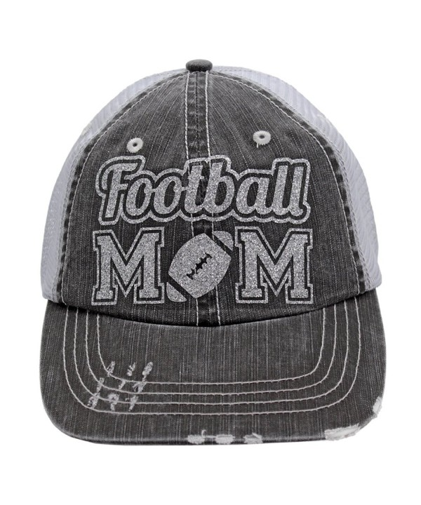 Football Mom Sports Trucker Style baseball Cap Hat Silver glitter - CP1859L3AKD