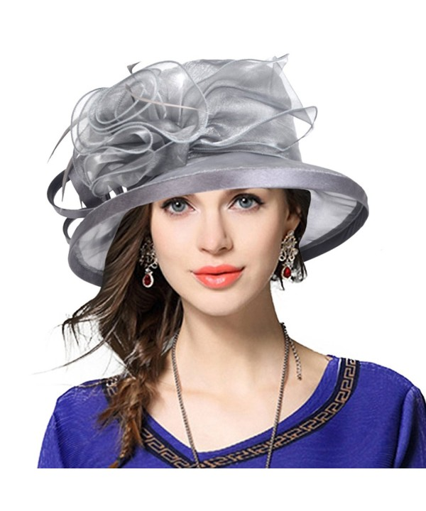 VECRY Women Satin Church Kentucky Derby Bucket Dress Cloche Hat S015 - 43grey - CJ17YRDW6HT
