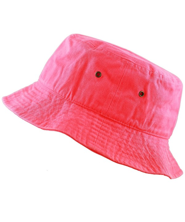 THE HAT DEPOT 300N Unisex 100% Cotton Packable Summer Travel Bucket Hat - Neonpink - C6185Y9KTNK
