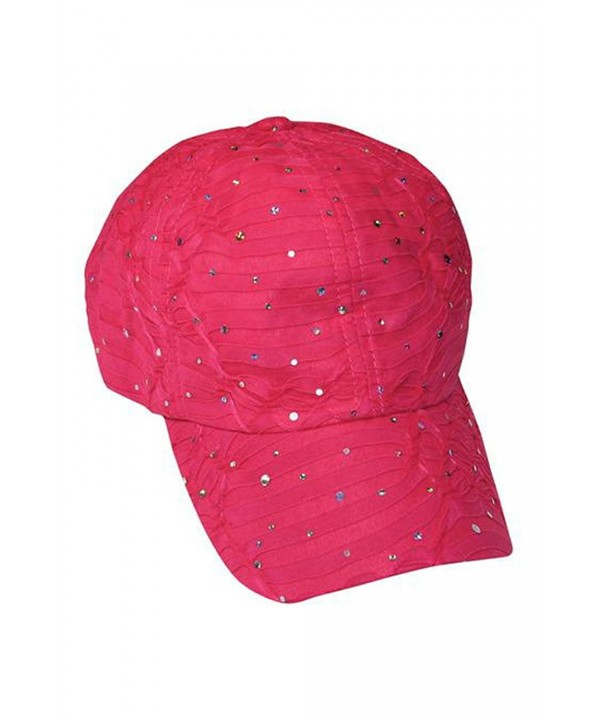 Glitzy Game Crystal Sequin Trim Women's Adjustable Glitter Baseball Cap FUCHSIA - C511U7YIHH9