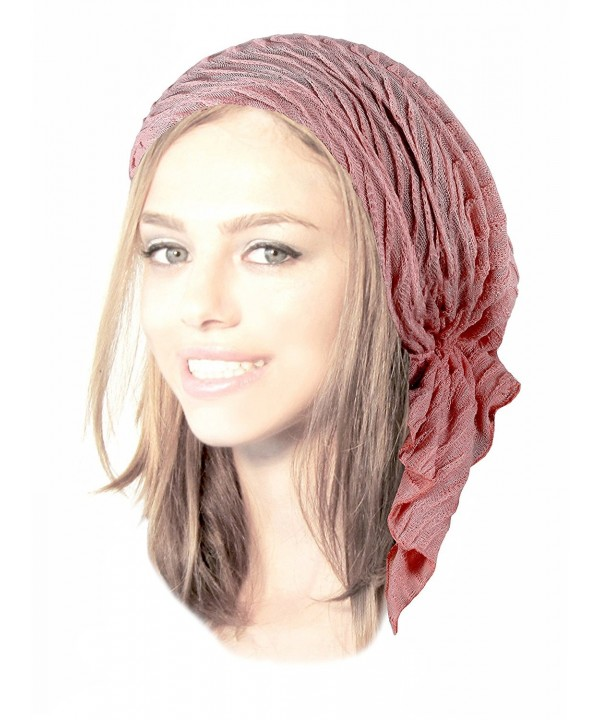 Boho Chic Pre-tied Head-Scarf Tichel Textured Breathable Knit Collection ShariRose - Light Pink Sparkle - CC1838SNI25