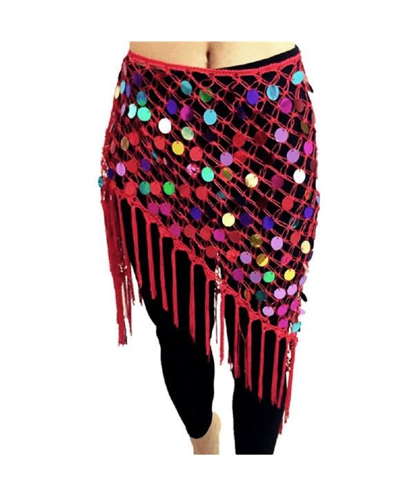 Belly Dance Hip Scarf with Sequins- Triangle Net Crocheted Belt for Belly Dance - Red - CD184DSUZ2G