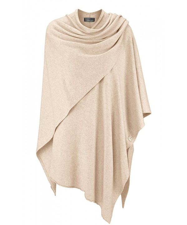 Cashmere Dreams Womens Wrap Poncho Topper - With Cashmere - Various Colors - Beige2 - CN184SG24DA