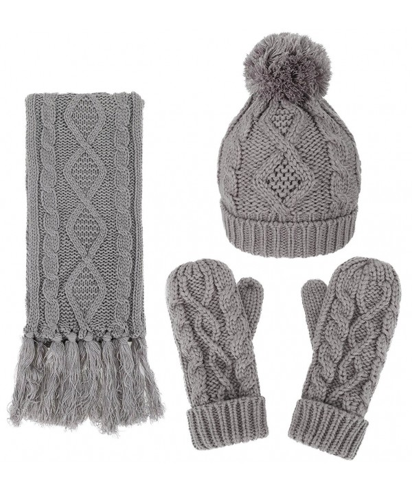 ANDORRA 3 in 1 Women Soft Warm Thick Cable Knitted Hat Scarf & Gloves Winter Set - Gray - CR12MDU5191