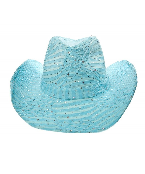 Glitter Sparkle Western Hats / Light Blue - Light Blue - C3112PPU83T