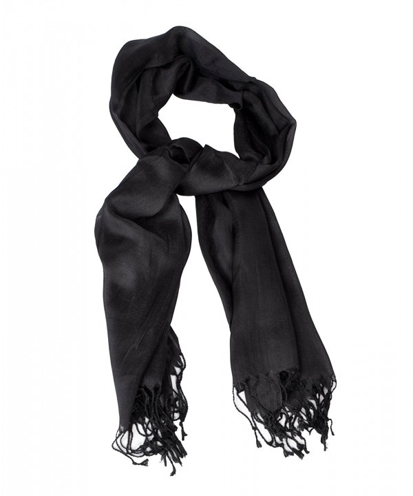 Ladies' Elegant Solid Color Viscose Scarves - Black - C3120SA0RN7