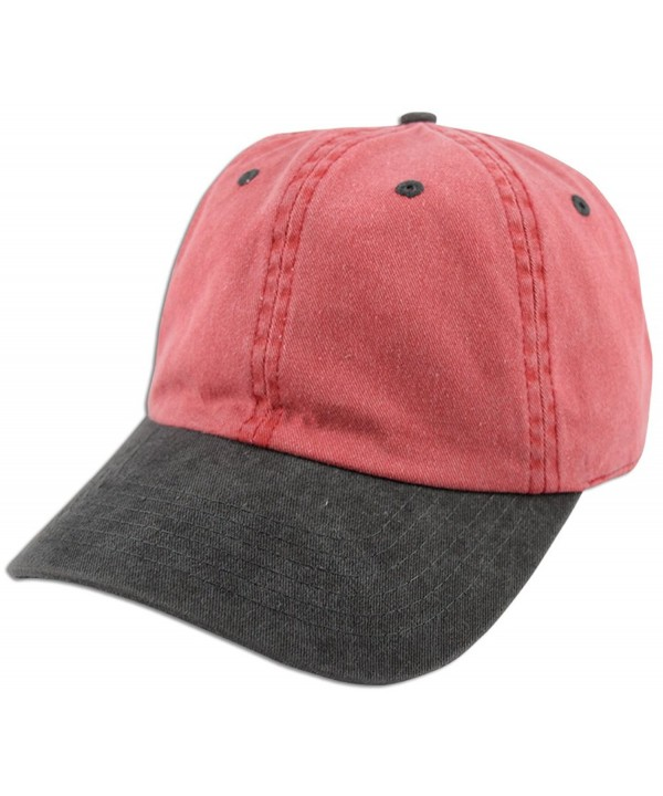 Dad Hat Pigment Dyed Two Tone Plain Cotton Polo Style Retro Curved Baseball Cap 1200 - Red / Black - CC17Y2D0YGA